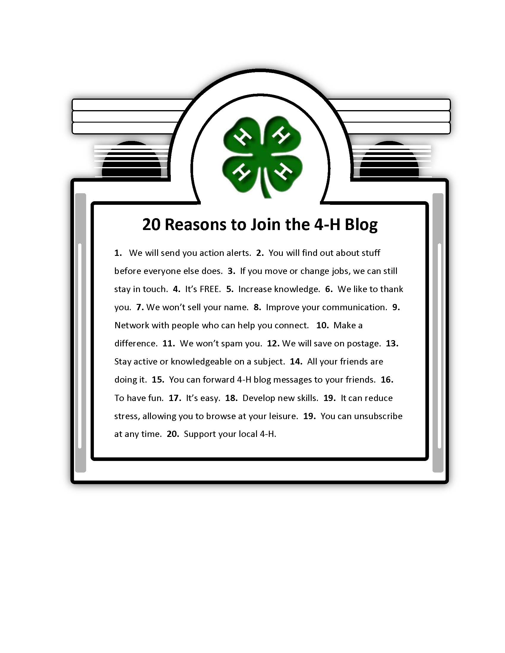 20 Reasons To Join the Blog