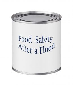 A photo of a can good with label reading Food Safety After a Flood