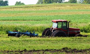 Color photo of a Case tractor buried in mud to it's axles.