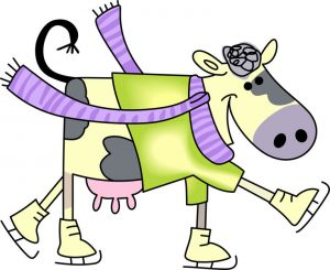 A color image of a cartoon dairy cow wearing ice skates and a scarf
