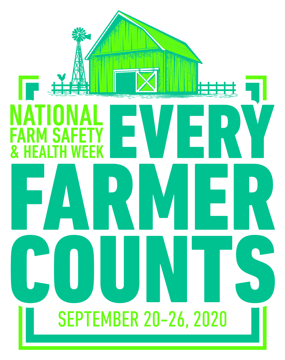 "Logo for National Farm Safety and Health week ""Every Farmer Counts"""