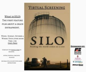 "A digital poster for a virtual screening of the film ""SILO"" on October 4, 2020 at 1:00 pm CDT."