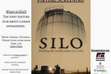 """A digital poster for a virtual screening of the film """"SILO"""" on October 4, 2020 at 1:00 pm CDT."""