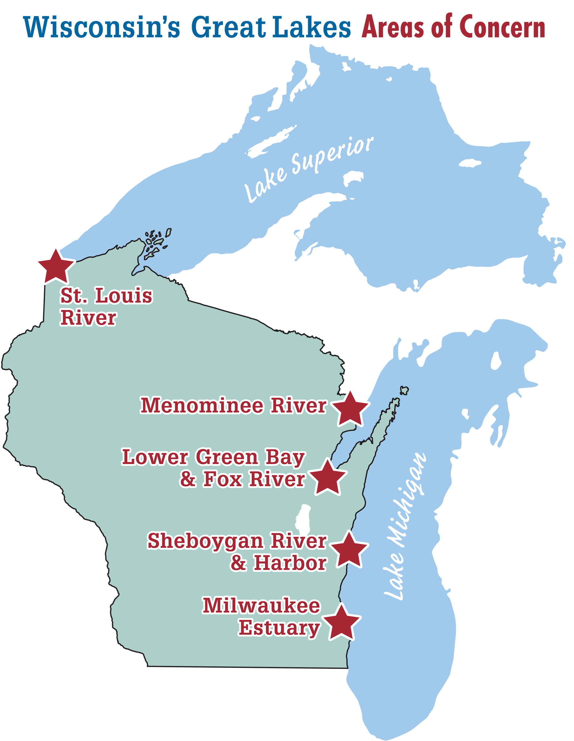 Wisconsins Great Lakes Areas Of Concern - Map of wisconsin lakes and rivers