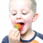 small boy eating a strawberry