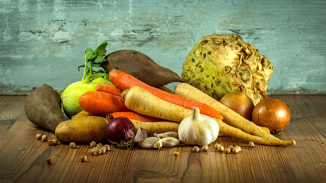 winter root vegetables on table