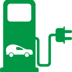 icon of gas pump with electric plug