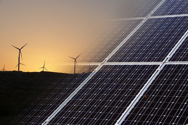 solar array and wind turbines