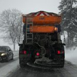 Truck spreading road salt