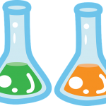 two beakers with fluid