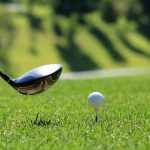 golf club ball on tee off