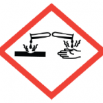 dangerous chemicals warning sign with red outline