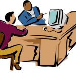 clipart of 2 gentleman working at a desk with a computer