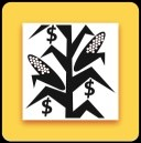 App for pricing corn silage - corn stalk with dollar signs around it with a yellow border