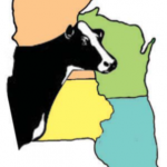 4-State Dairy Conference Logo- the states of Wisconsin, Illinois, Iowa, and Minnesota & a Holstein cow
