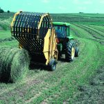 round bales being made in the field