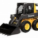 picture of a yellow John Deere skid steer