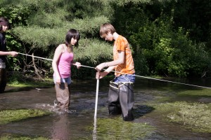stream flow measuring with tape and meterstick