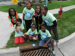 Storm drain marking with youth 2015