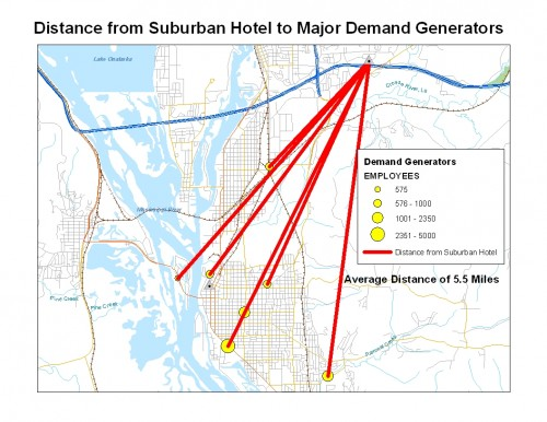 Map: Distance from Suburban Hotel to Major Demands Generators