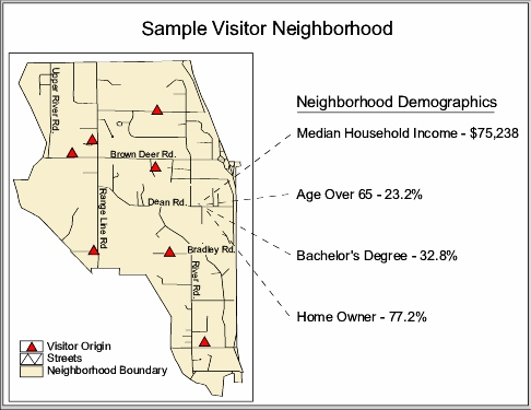 Sample Map Showing Neighborhood and Demographic Attributes