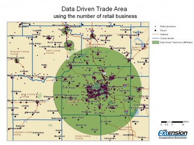 Example Map Showing Data-Driven Rings Based on Number of Retail Businesses