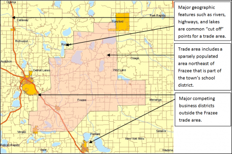 Example Map of Frazee, Minnesota Primary Trade Area