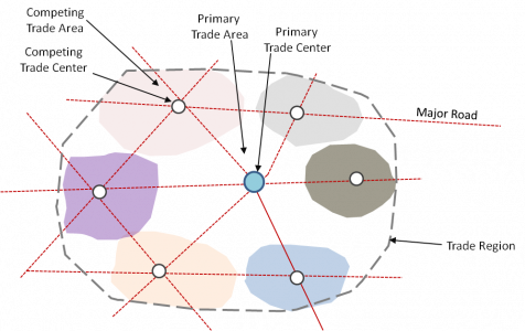Illustration of Trade Areas in a Region as Identified by Consumer Focus Group