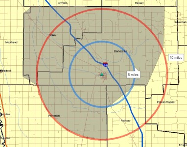 Zip Codes Describing Trade Area (Shade Area) Resulting from Business Owners Focus Group