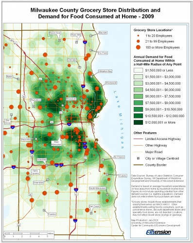 Example map Milwaukee County Grocery Store Distribution and Demand for Food Consumed at Home - 2009
