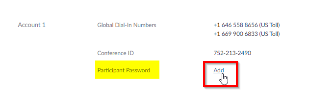 Add Personal Audio Account Participant Password