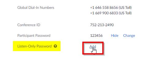 Add Listen Only Password link