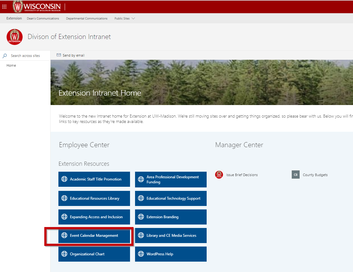 Division of Extension intranet home page