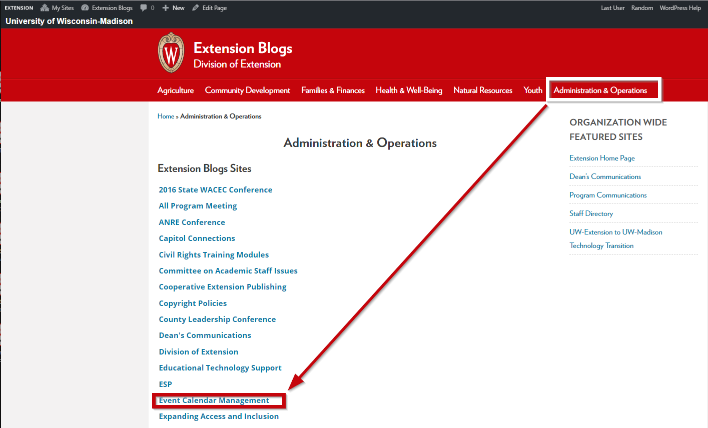 Extension Blogs Administration and Operations Page