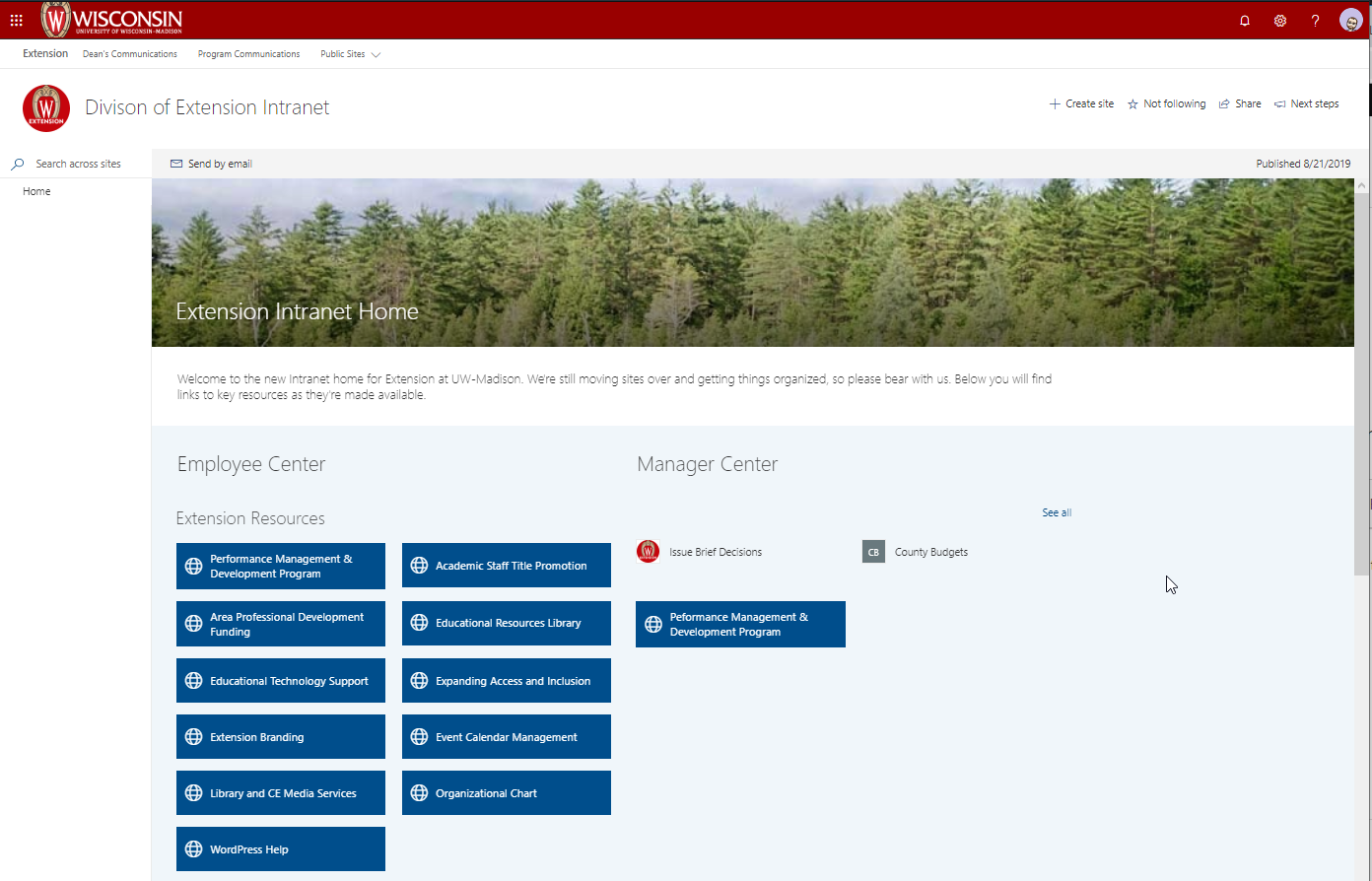 Division of Extension Intranet Homepage