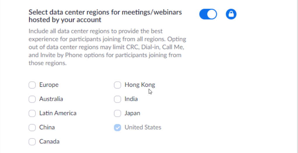 Zoom Data Center Settings indicating only participants from the United States are allowed