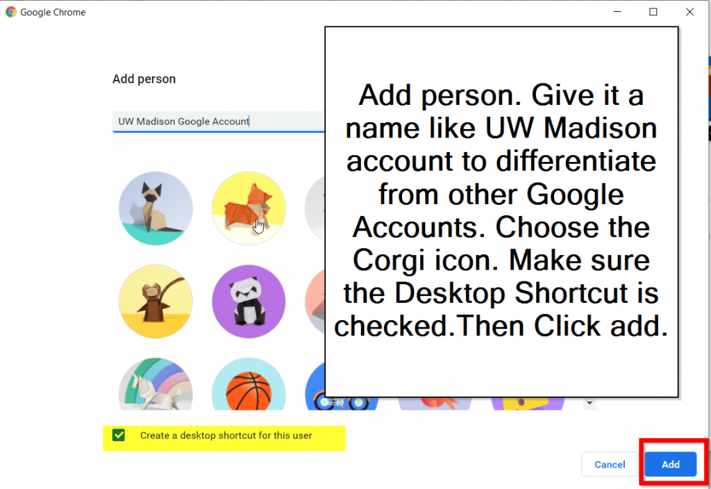 Enter a name and choose an icon for the new profile in Chrome