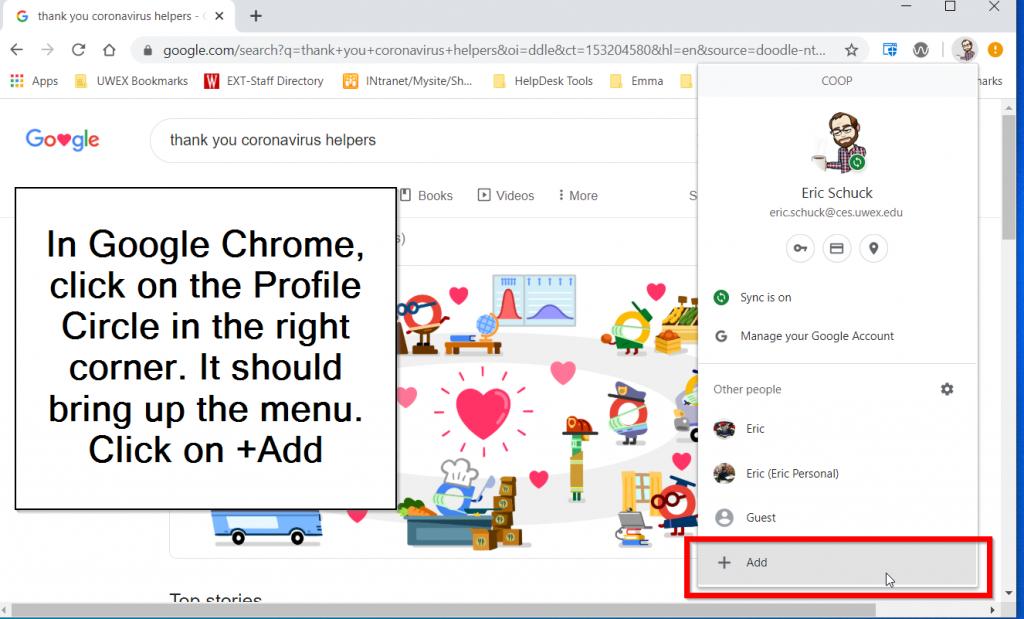 Add Person in Google Chrome Profile menu