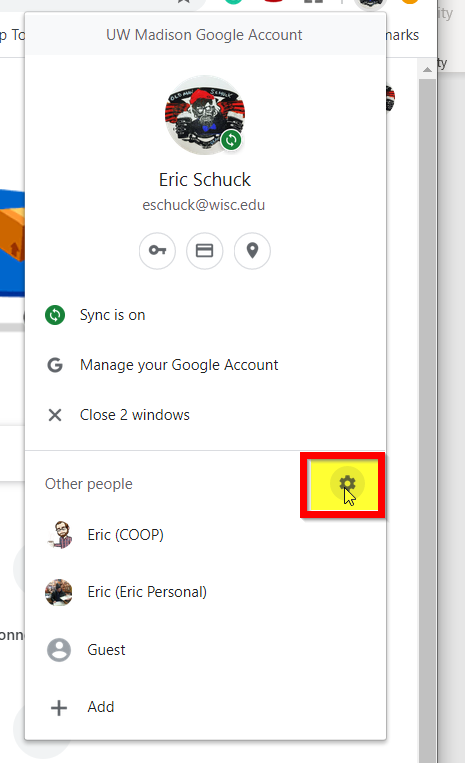 Gear icon next to Other people in Chrome profile menu