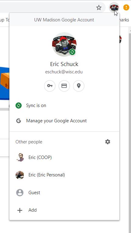Google Chrome Profile menu
