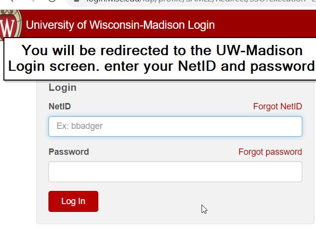 UW Madison NetID Login Screen