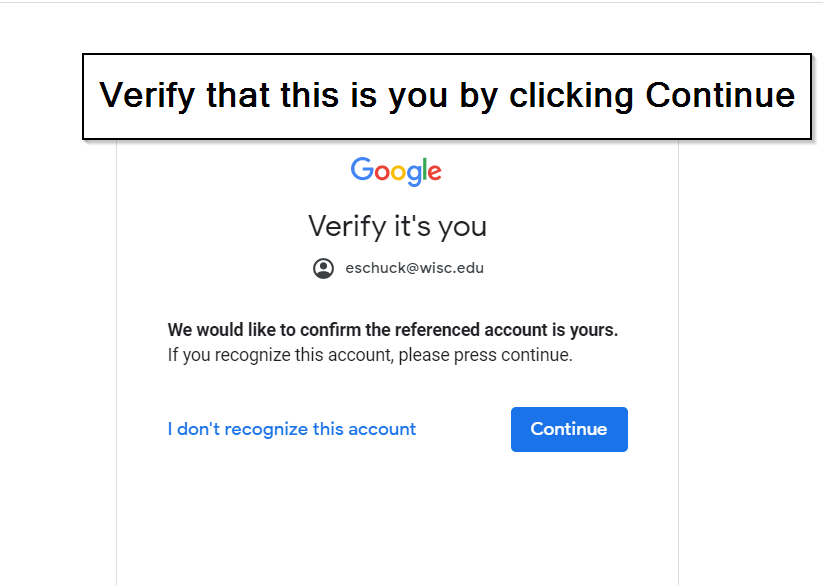 Verify your account screen