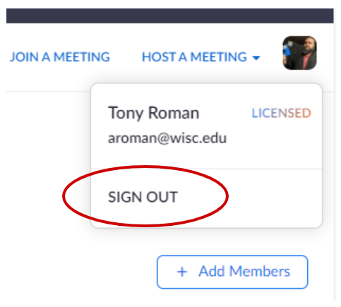 Sign Out of Zoom