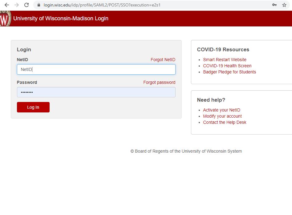 UW Madison Net ID Login Screen