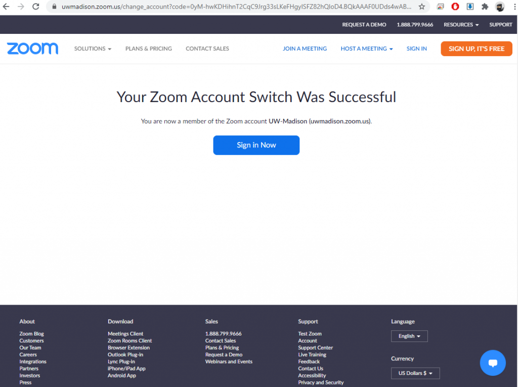 Your Zoom Account Switch Was Successful
