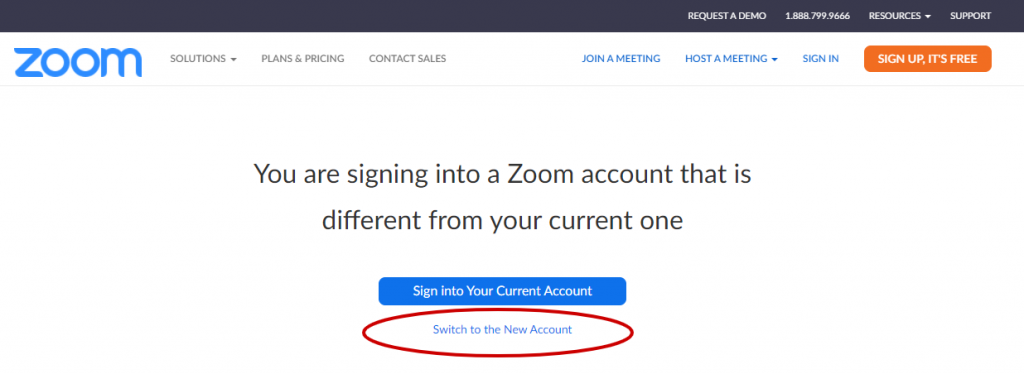 Zoom Switch to the New Account