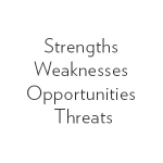 strengths. weaknesses. opportunities. threats. S.W.O.T.
