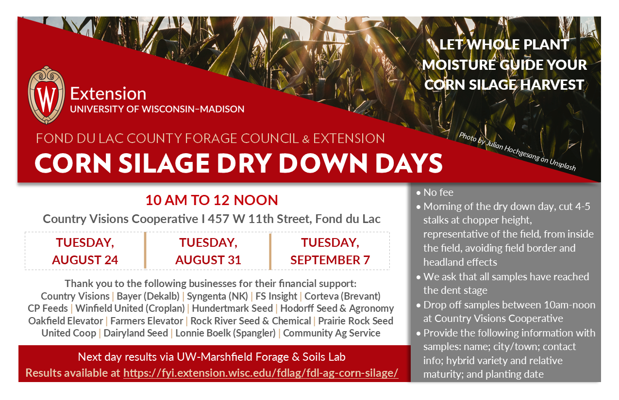 2021 corn silage dry down details