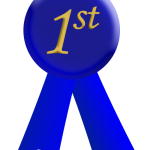 blue ribbon with 1st written in gold