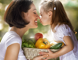 Mom and Child eating healthy food